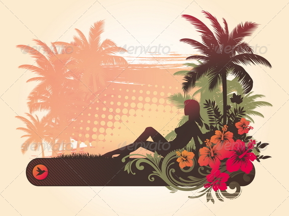 Tropical Illustaration with Girl Silhouette - Travel Conceptual