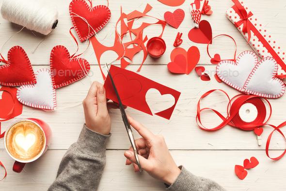 Valentine day handmade scrapbooking background - Stock Photo - Images