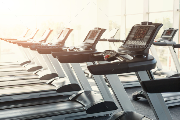 Modern gym interior equipment, treadmill control panels for card - Stock Photo - Images