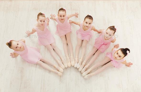 Little girls dancing ballet in studio - Stock Photo - Images