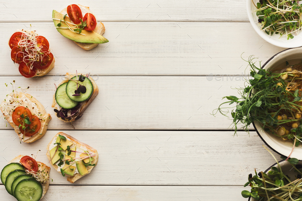 Variety of healthy vegetarian sandwiches - Stock Photo - Images