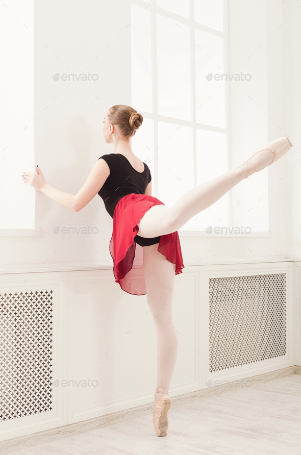 Beautiful ballerina dance on pointe - Stock Photo - Images