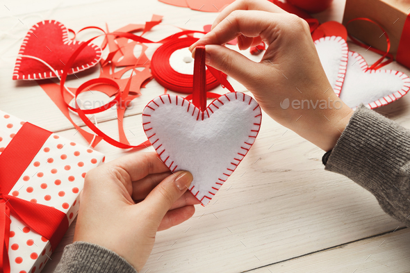 Valentine day handmade gifts background - Stock Photo - Images