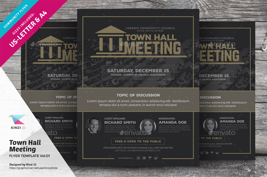 Town Hall Meeting Flyer Vol01 By Kinzishots Graphicriver