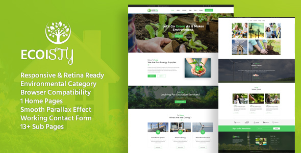 Ecoisty - Environment / Non-Profit HTML Template Best Scripts