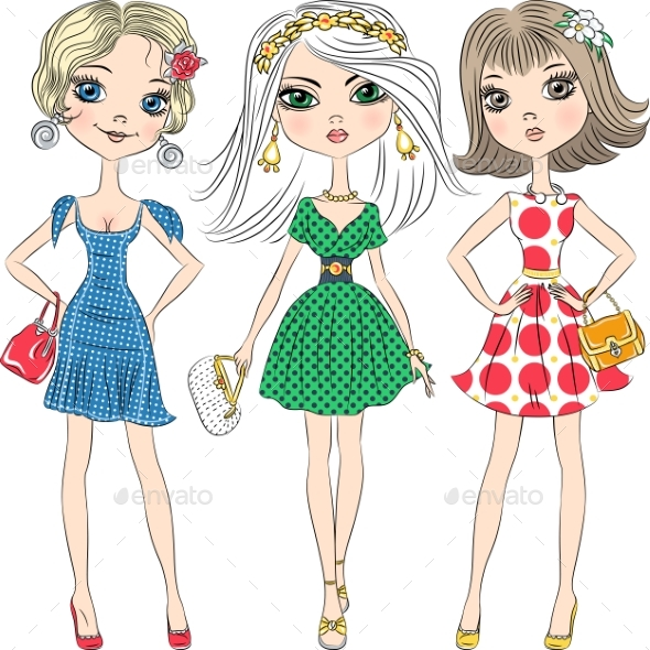 Vector Fashion Girls Top Models - Miscellaneous Vectors