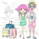 Vector Hipster Traveler Couple on the Sea Beach