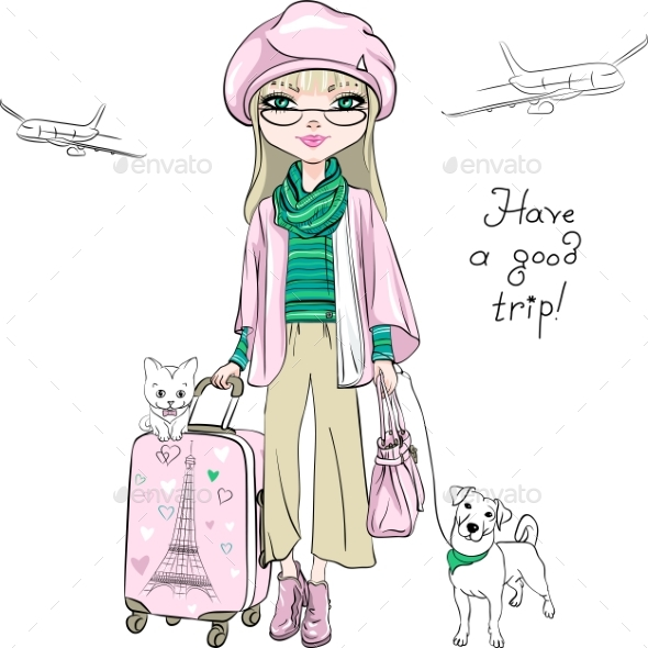 Vector Fashion Girl Travels the World - Miscellaneous Vectors
