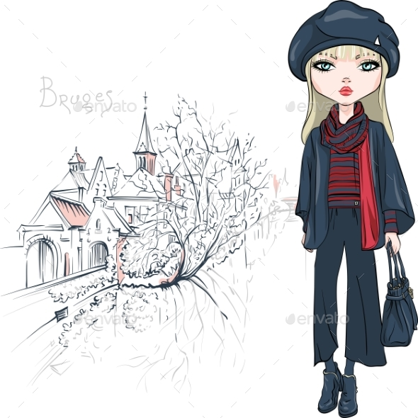 Vector Fashion Girl in Winter Clothes in Bruges - Miscellaneous Vectors