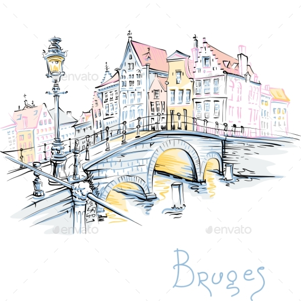 Scenic City View of Bruges Canal - Miscellaneous Vectors