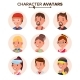 Character People Avatar Set Vector. Face. Default