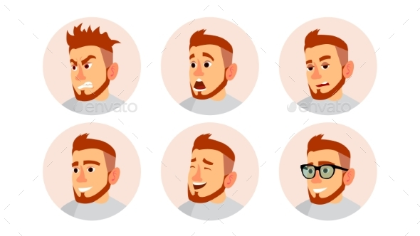 Character Business People Avatar Vector. Man Face - People Characters