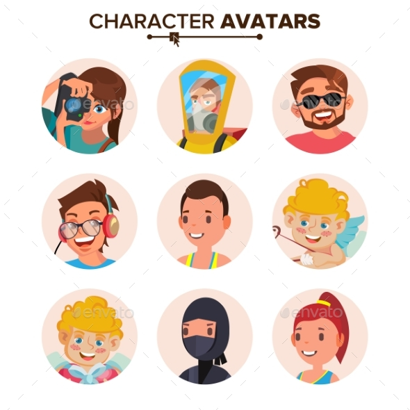 Character People Avatar Set Vector. Face, Emotions - People Characters