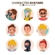 Character People Avatar Set Vector. Face, Emotions