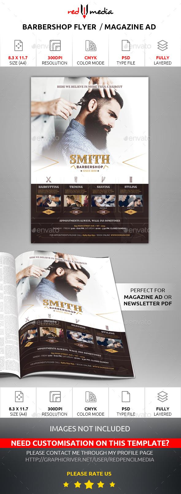 Barbershop Flyer / Magazine AD - Flyers Print Templates