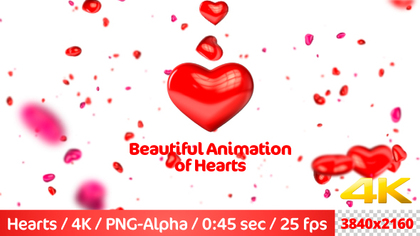 VideoHive Beautiful Flying 3D Hearts 21236617