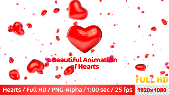 VideoHive Beautiful Flying 3D Hearts 21236634