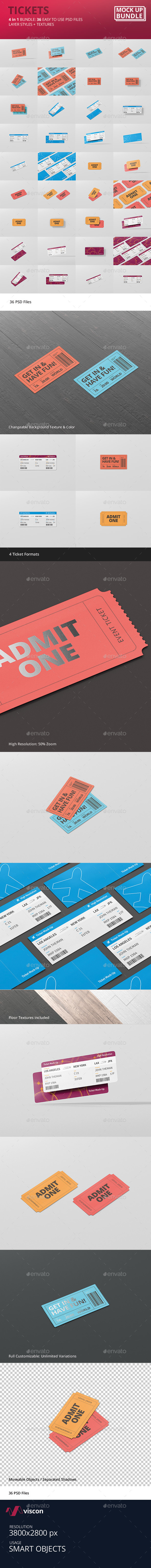 Ticket Mockup Bundle - Miscellaneous Print