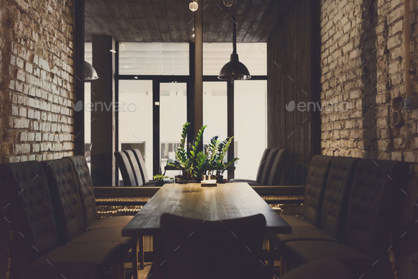 Cozy dining place at window, restaurant background - Stock Photo - Images