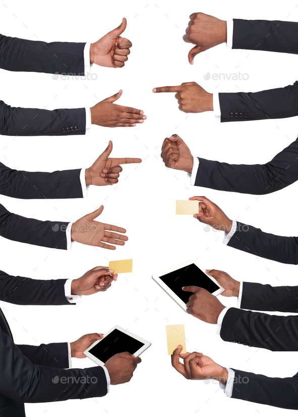 Black male hands holding items and showing symbols. - Stock Photo - Images