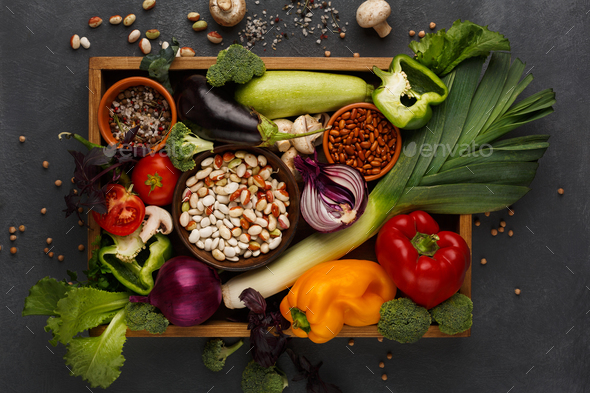 Fresh vegetables on wooden tray with copy space - Stock Photo - Images