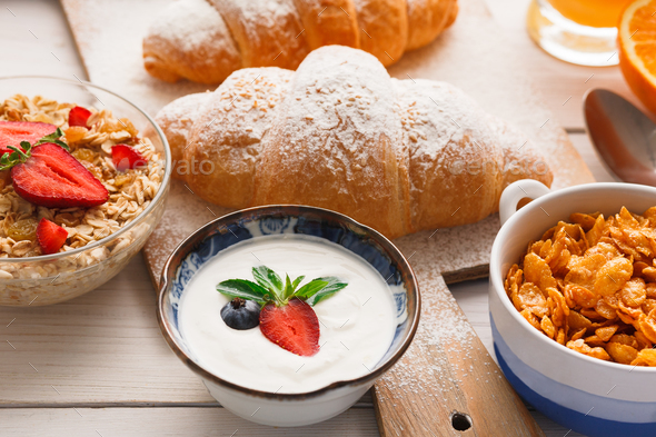 Traditional french breakfast menu closeup - Stock Photo - Images