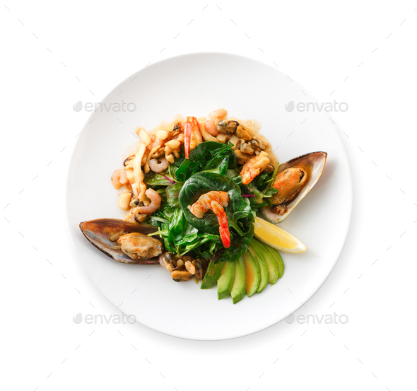 Warm salad with grilled seafood isolated - Stock Photo - Images