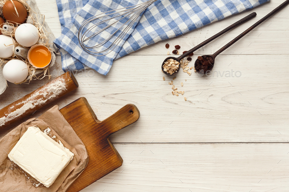 Baking classes or dough making background and mockup - Stock Photo - Images