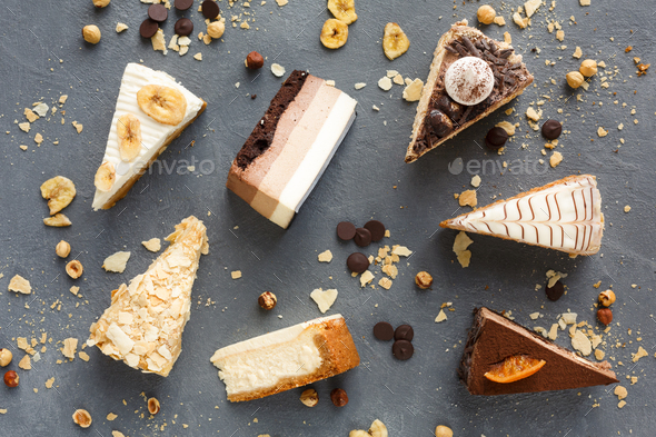 Assortment of pieces of cake, copy space - Stock Photo - Images