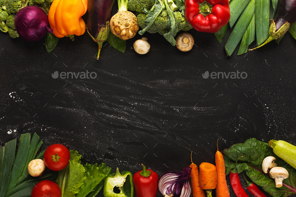 Border of fresh vegetables on wooden background with copy space - Stock Photo - Images