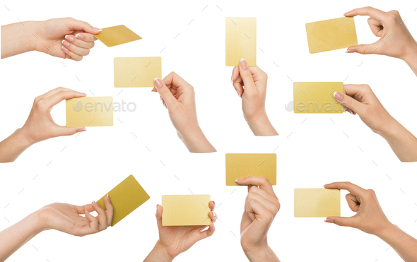 White female hand with business cards. Set, isolated on white. - Stock Photo - Images
