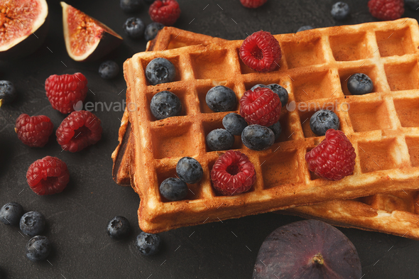 Belgium waffles with berries and f - Stock Photo - Images