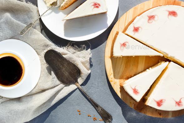 New York cheesecake on dark background - Stock Photo - Images