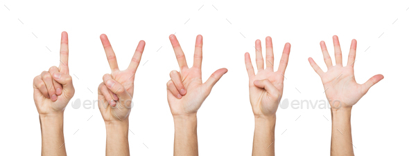 Set of white man's hands. Male hand show figures, counting - Stock Photo - Images