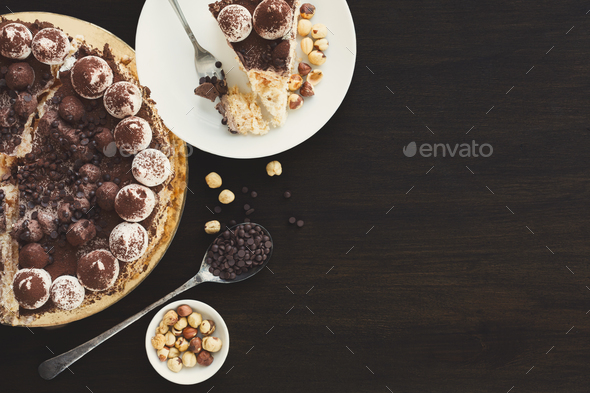Meringue cake with hazelnuts and buttercream - Stock Photo - Images