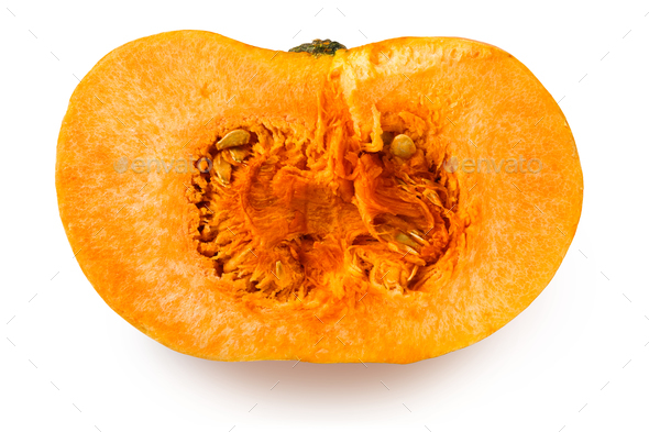 Half of a yellow pumpkin on a white background - Stock Photo - Images