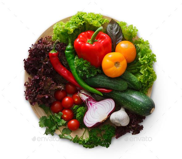 Fresh vegetable assortment isolated on white - Stock Photo - Images