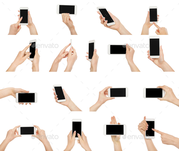 White female hands with smartphone - Stock Photo - Images