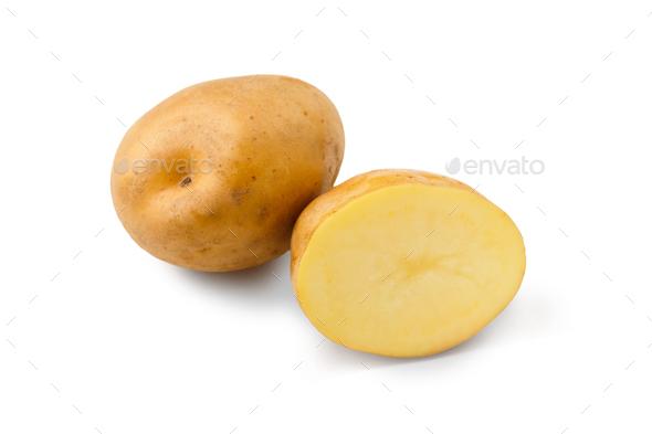 Raw potato closeup isolated on white background - Stock Photo - Images
