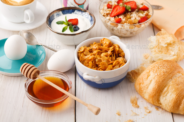 Continental breakfast menu on woden table - Stock Photo - Images