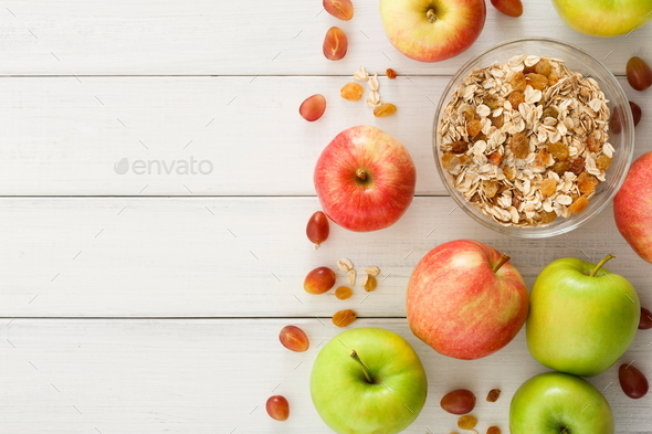 Healthy morning meals with muesli and apples - Stock Photo - Images