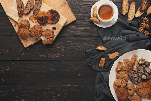 Oatmeals cookies and biscotti for warm winter evening - Stock Photo - Images