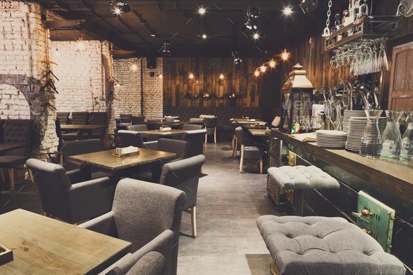 Interior of cozy restaurant, loft style - Stock Photo - Images