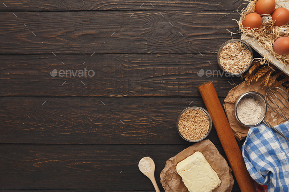 Cooking ingredients for dough background with copy space - Stock Photo - Images