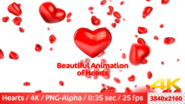 VideoHive Beautiful Flying 3D Hearts 21236875