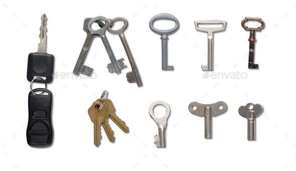 Set of keys isolated at white background - Stock Photo - Images
