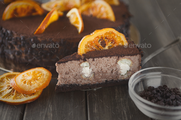 Chocolate cake with cream and profiterole - Stock Photo - Images