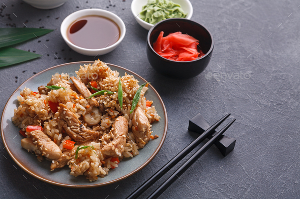 Beef teriyaki with rice bow, copy space - Stock Photo - Images