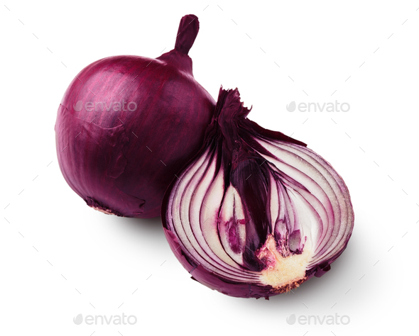 One red onion half closeup isolated on white background - Stock Photo - Images
