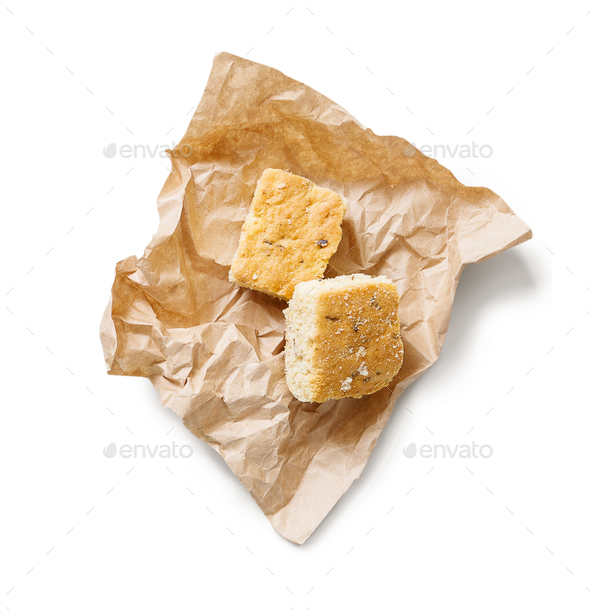 Tasty biscuit on craft paper isolated - Stock Photo - Images